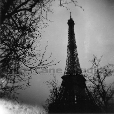 The Eiffel Tower taken with a Holga on black and white 120mm film.